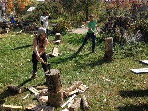 Charlotte, Tomis, & Dean chopping wood for QIVC