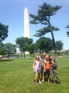 A group of us walking along the Mall in DC.