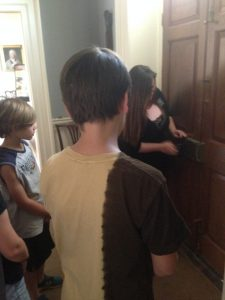 "We learned what an 18th Century ""security system"" looked like - a series of 5 locks on the front door! Some kids even got to try locking and unlocking the many locks."